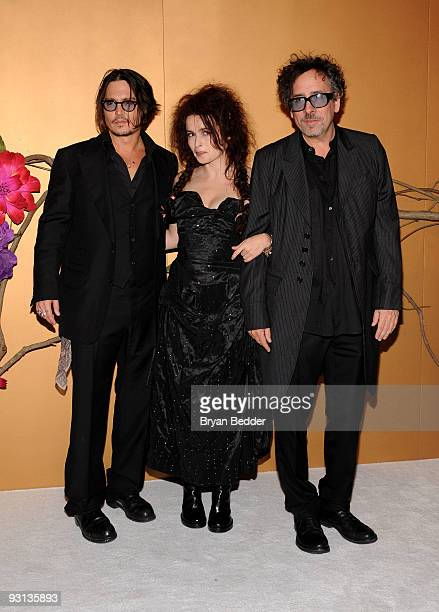 Actor Johnny Depp actress Helena Bonham Carter and filmmaker Tim Burton attend 'The Museum of Modern Art Film Benefit A Tribute To Tim Burton' at The...