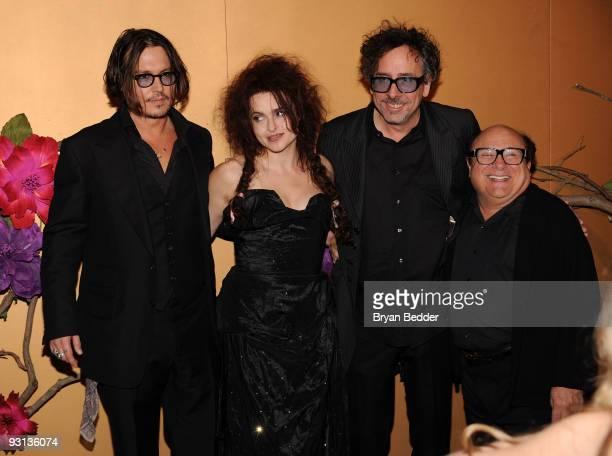 Actor Johnny Depp actress Helena Bonham Carter filmmaker Tim Burton and actor Danny DeVito attend 'The Museum of Modern Art Film Benefit A Tribute To...