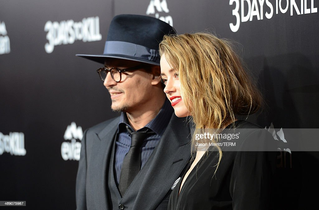 Actor <a gi-track='captionPersonalityLinkClicked' href=/galleries/search?phrase=Johnny+Depp&family=editorial&specificpeople=202150 ng-click='$event.stopPropagation()'>Johnny Depp</a> and actress <a gi-track='captionPersonalityLinkClicked' href=/galleries/search?phrase=Amber+Heard&family=editorial&specificpeople=2210577 ng-click='$event.stopPropagation()'>Amber Heard</a> arrive at the premiere of '3 Days to Kill' at ArcLight Cinemas on February 12, 2014 in Hollywood, California.