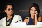 Actor Johnny Depp and actress Penelope Cruz attend the 'Pirates of the Caribbean On Stranger Tides' press conference at the Palais des Festivals...