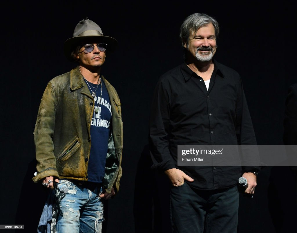 Actor <a gi-track='captionPersonalityLinkClicked' href=/galleries/search?phrase=Johnny+Depp&family=editorial&specificpeople=202150 ng-click='$event.stopPropagation()'>Johnny Depp</a> (L) and director <a gi-track='captionPersonalityLinkClicked' href=/galleries/search?phrase=Gore+Verbinski&family=editorial&specificpeople=538751 ng-click='$event.stopPropagation()'>Gore Verbinski</a> appear at a Walt Disney Studios Motion Pictures presentation to promote their upcoming film 'The Lone Ranger' at The Colosseum at Caesars Palace during CinemaCon, the official convention of the National Association of Theatre Owners, on April 17, 2013 in Las Vegas, Nevada.