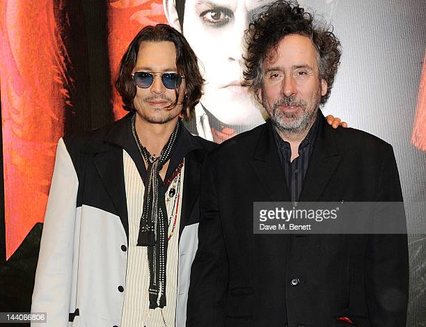 Actor Johnny Depp and director Tim Burton attend the European Premiere of 'Dark Shadows' at Empire Leicester Square on May 9 2012 in London England