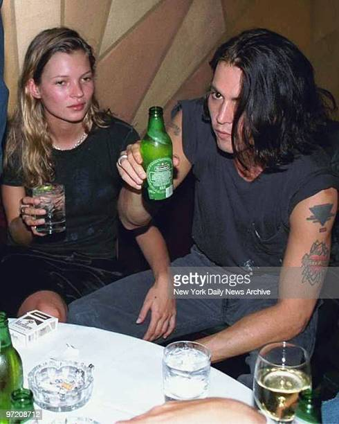 Actor Johnny Depp and girlfriend supermodel Kate Moss at the thirtyeighth birthday party thrown by Depp for fellow iconoclastic actor Mickey Rourke...