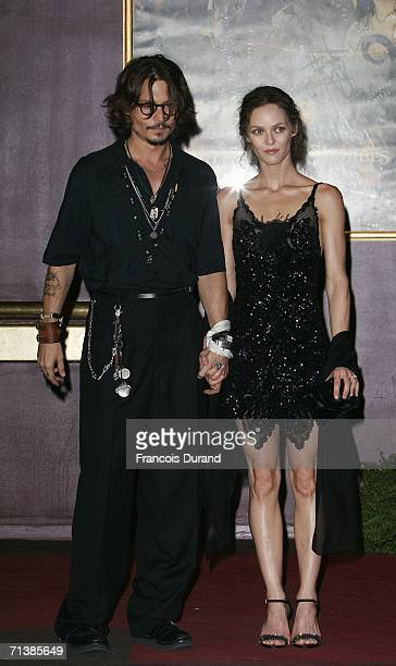 Actor Johnny Depp and partner Vanessa Paradis attend the French premiere of 'Pirates of the Caribbean 2 Dead Man's Chest' at the Gaumont Marignan...