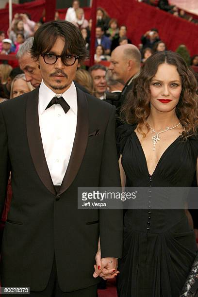 Actor Johnny Depp and singer Vanessa Paradis attends the 80th Annual Academy Awards at the Kodak Theatre on February 24 2008 in Los Angeles California