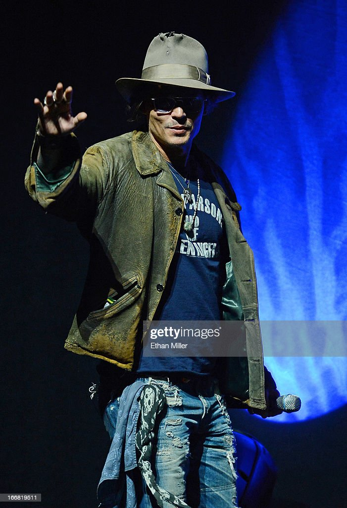 Actor <a gi-track='captionPersonalityLinkClicked' href=/galleries/search?phrase=Johnny+Depp&family=editorial&specificpeople=202150 ng-click='$event.stopPropagation()'>Johnny Depp</a> appears at a Walt Disney Studios Motion Pictures presentation to promote the upcoming film 'The Lone Ranger' at The Colosseum at Caesars Palace during CinemaCon, the official convention of the National Association of Theatre Owners, on April 17, 2013 in Las Vegas, Nevada.