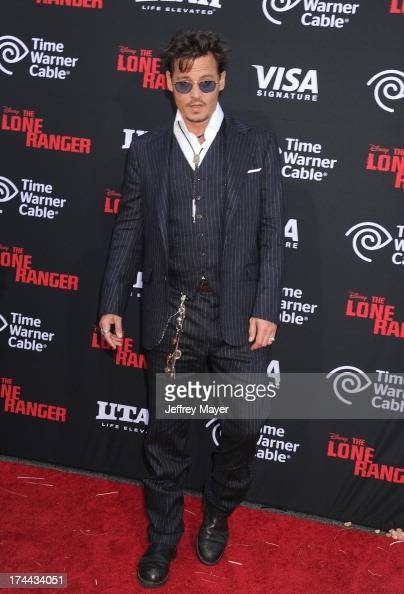 Actor Johnny Depp arrives at 'The Lone Ranger' World Premiere at Disney's California Adventure on June 22 2013 in Anaheim California