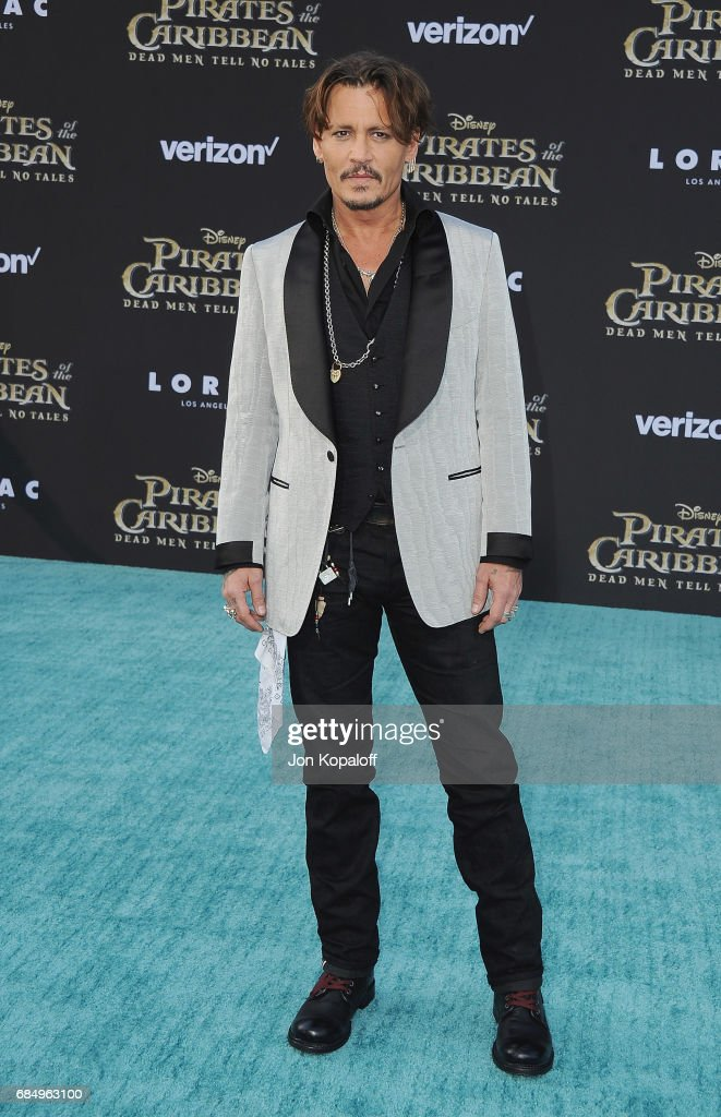 Actor Johnny Depp arrives at the Los Angeles Premiere 'Pirates Of The Caribbean: Dead Men Tell No Tales' at Dolby Theatre on May 18, 2017 in Hollywood, California.