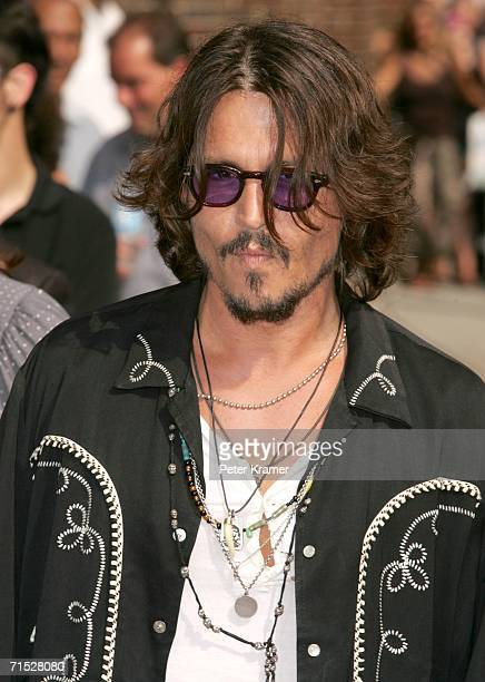 Actor Johnny Depp arrives for a taping of The Late Show With David Letterman on July 27 2006 in New York City