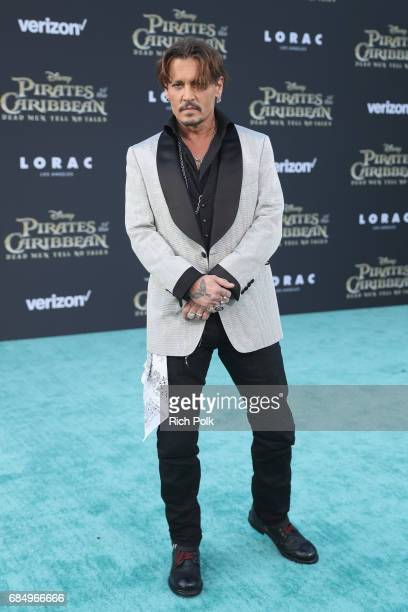 "Actor Johnny Depp at the Premiere of Disney's and Jerry Bruckheimer Films' ""Pirates of the Caribbean Dead Men Tell No Tales"" at the Dolby Theatre in..."