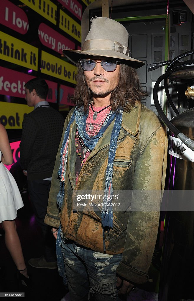 Actor <a gi-track='captionPersonalityLinkClicked' href=/galleries/search?phrase=Johnny+Depp&family=editorial&specificpeople=202150 ng-click='$event.stopPropagation()'>Johnny Depp</a> attends Nickelodeon's 26th Annual Kids' Choice Awards at USC Galen Center on March 23, 2013 in Los Angeles, California.