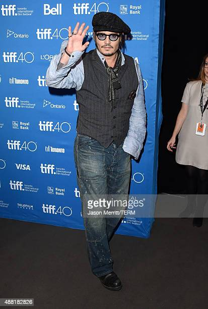 Actor Johnny Depp attends the 'Black Mass' press conference at the 2015 Toronto International Film Festival at TIFF Bell Lightbox on September 14...