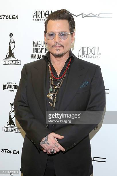 Actor Johnny Depp attends the MakeUp Artists and Hair Stylists Guild Awards at Paramount Studios on February 20 2016 in Hollywood California