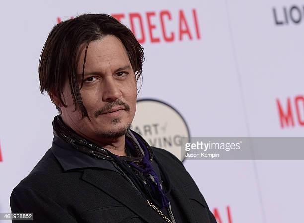 Actor Johnny Depp attends the premiere of Lionsgate's 'Mortdecai' at TCL Chinese Theatre on January 21 2015 in Hollywood California