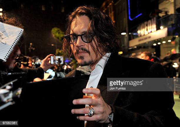 Actor Johnny Depp attends the Royal World Premiere of Tim Burton's 'Alice In Wonderland' at the Odeon Leicester Square on February 25 2010 in London...