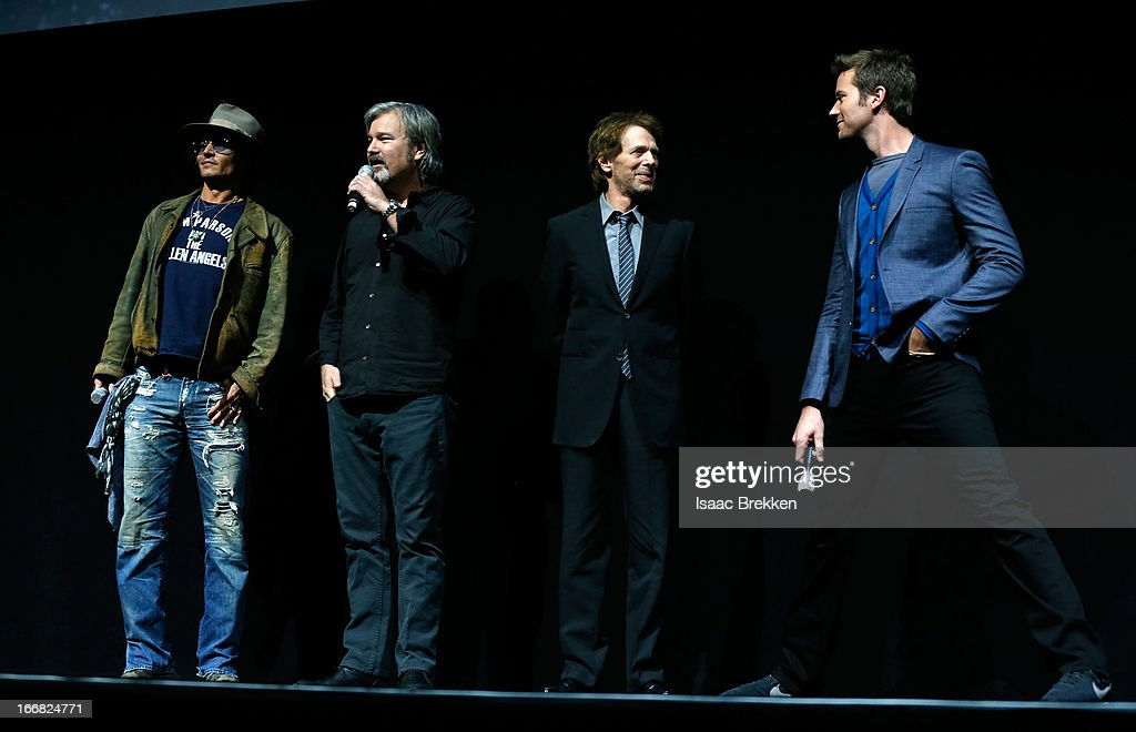 Actor Johnny Depp, director Gore Verbinski, producer Jerry Bruckheimer and actor Armie Hammer speak at The Walt Disney Studios Motion Pictures presentation to promote their upcoming film, 'The Lone Ranger' at Caesars Palace during CinemaCon, the official convention of the National Association of Theatre Owners on April 17, 2013 in Las Vegas, Nevada.