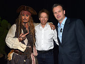 Actor Johnny Depp dressed as Captain Jack Sparrow and producer Jerry Bruckheimer of PIRATES OF THE CARIBBEAN DEAD MEN TELL NO TALES with President of...