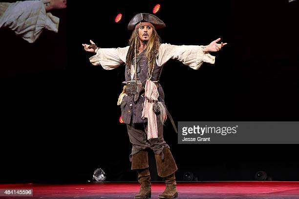 Actor Johnny Depp dressed as Captain Jack Sparrow of PIRATES OF THE CARIBBEAN DEAD MEN TELL NO TALES took part today in 'Worlds Galaxies and...