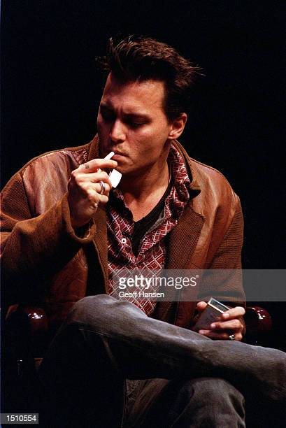 Actor Johnny Depp gives an onstage interview at Dartmouth College April 29 1995 in Hanover Nh Depp was the youngest recipient of the Dartmouth Film...