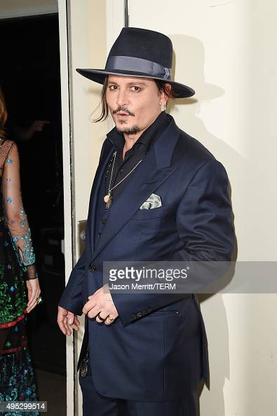 Actor Johnny Depp poses in the press room during the 19th Annual Hollywood Film Awards at The Beverly Hilton Hotel on November 1 2015 in Beverly...