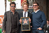 Actor Johnny Depp producer Jerry Bruckheimer and actor Tom Cruise attend Legendary Producer Jerry Bruckheimer Hollywood Walk of Fame Star Ceremony on...