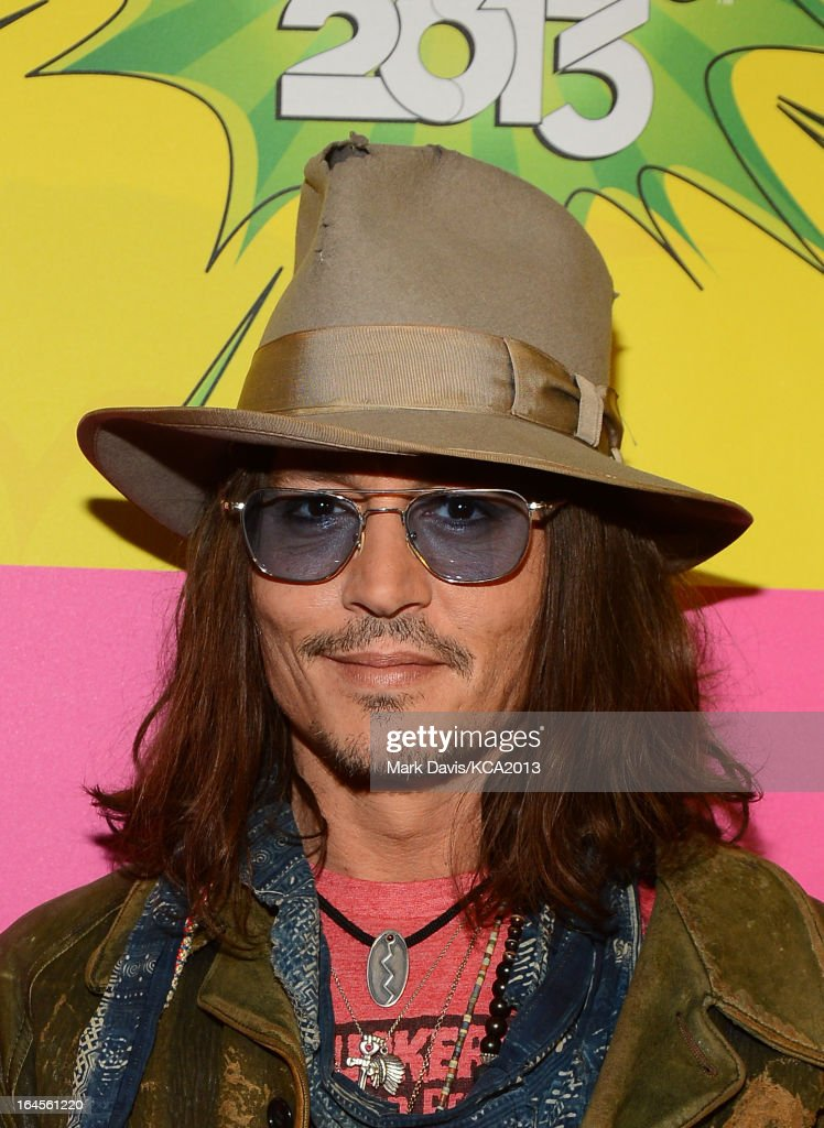 Actor <a gi-track='captionPersonalityLinkClicked' href=/galleries/search?phrase=Johnny+Depp&family=editorial&specificpeople=202150 ng-click='$event.stopPropagation()'>Johnny Depp</a> seen backstage at Nickelodeon's 26th Annual Kids' Choice Awards at USC Galen Center on March 23, 2013 in Los Angeles, California.