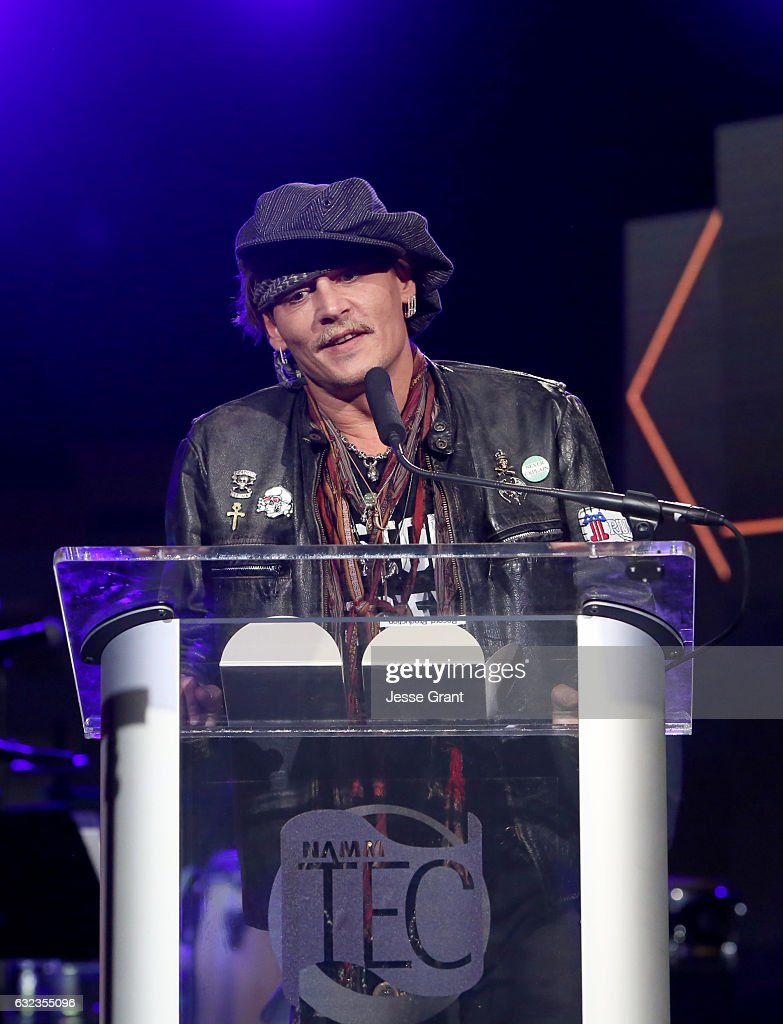 Actor Johnny Depp speaks onstage at the TEC Awards during NAMM Show 2017 at the Anaheim Hilton on January 21, 2017 in Anaheim, California.