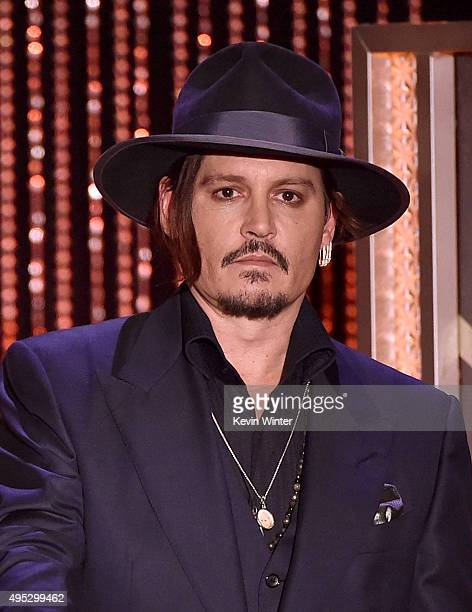 Actor Johnny Depp speaks onstage during the 19th Annual Hollywood Film Awards at The Beverly Hilton Hotel on November 1 2015 in Beverly Hills...