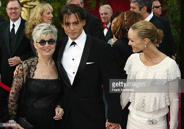 Actor Johnny Depp with mother Betty Sue Palmer and girlfriend Vanessa Paradis attend the 76th Annual Academy Awards at the Kodak Theater on February...