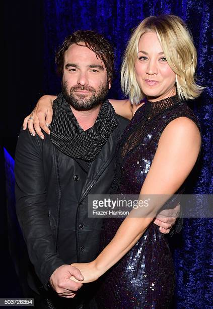 Actor Johnny Galecki and actress Kaley Cuoco attend the People's Choice Awards 2016 at Microsoft Theater on January 6 2016 in Los Angeles California