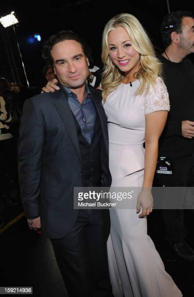 Actor Johnny Galecki and host Kaley Cuoco attend the 39th Annual People's Choice Awards at Nokia Theatre LA Live on January 9 2013 in Los Angeles...