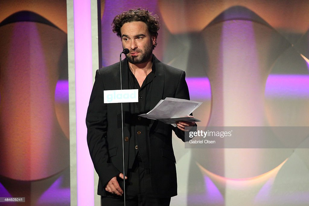 Actor <a gi-track='captionPersonalityLinkClicked' href=/galleries/search?phrase=Johnny+Galecki&family=editorial&specificpeople=832098 ng-click='$event.stopPropagation()'>Johnny Galecki</a> onstage during the 25th Annual GLAAD Media Awards at The Beverly Hilton Hotel on April 12, 2014 in Beverly Hills, California.