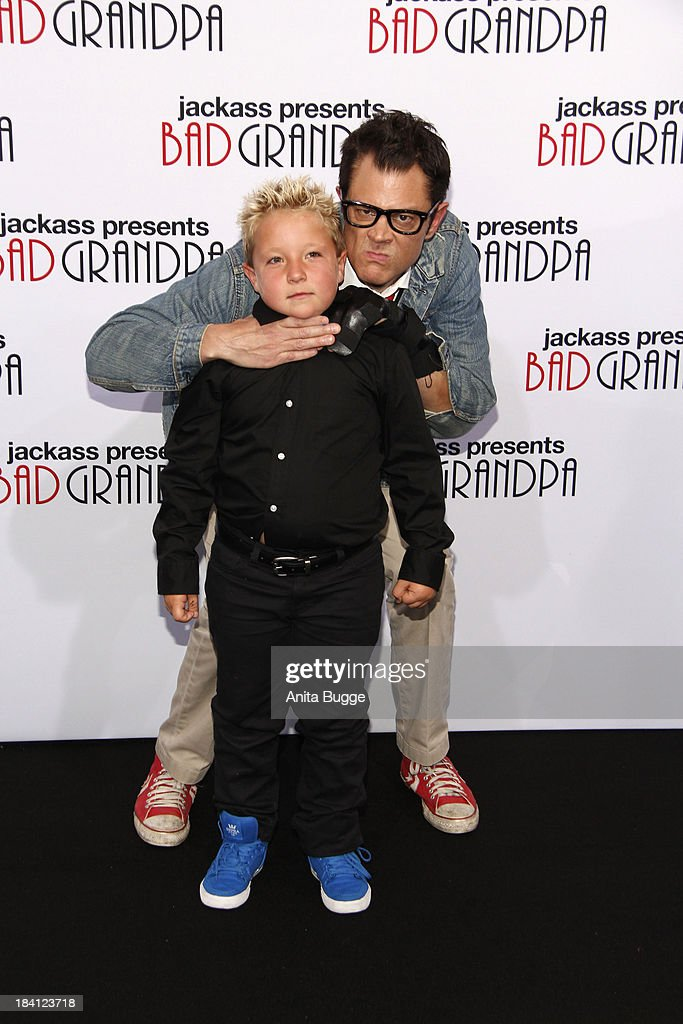 Actor Johnny Knoxville and actor Jackson Nicholl attend the 'Jackass presents Bad Grandpa' Germany premiere at Kino in der Kulturbrauerei on October...