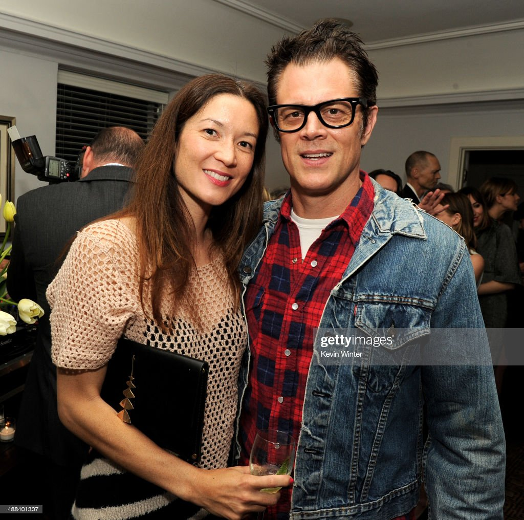Actor Johnny Knoxville (R) and his wife Naomi Nelson pose at the after party for the premiere of Tribeca Film's 'Palo Alto' at the Chateau Marmont on May 5, 2014 in West Hollywood, California.