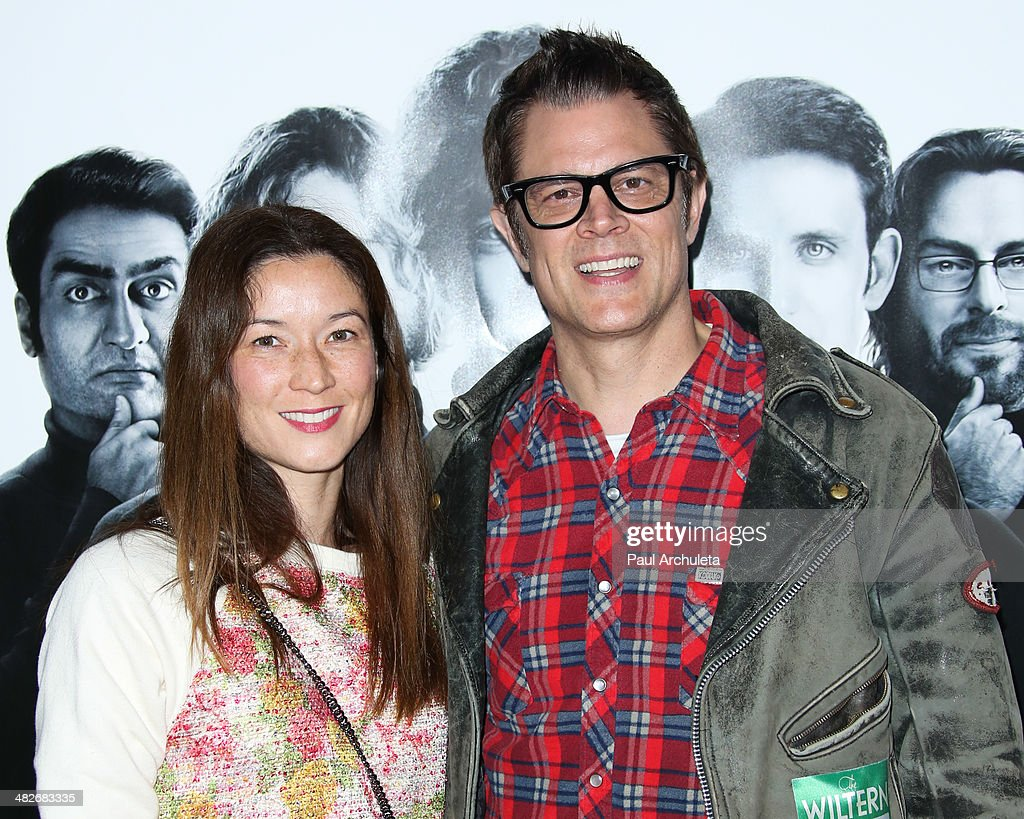 Actor Johnny Knoxville (L) and Naomi Nelson (R) attend the premiere of HBO's 'Silicon Valley' at Paramount Studios on April 3, 2014 in Hollywood, California.