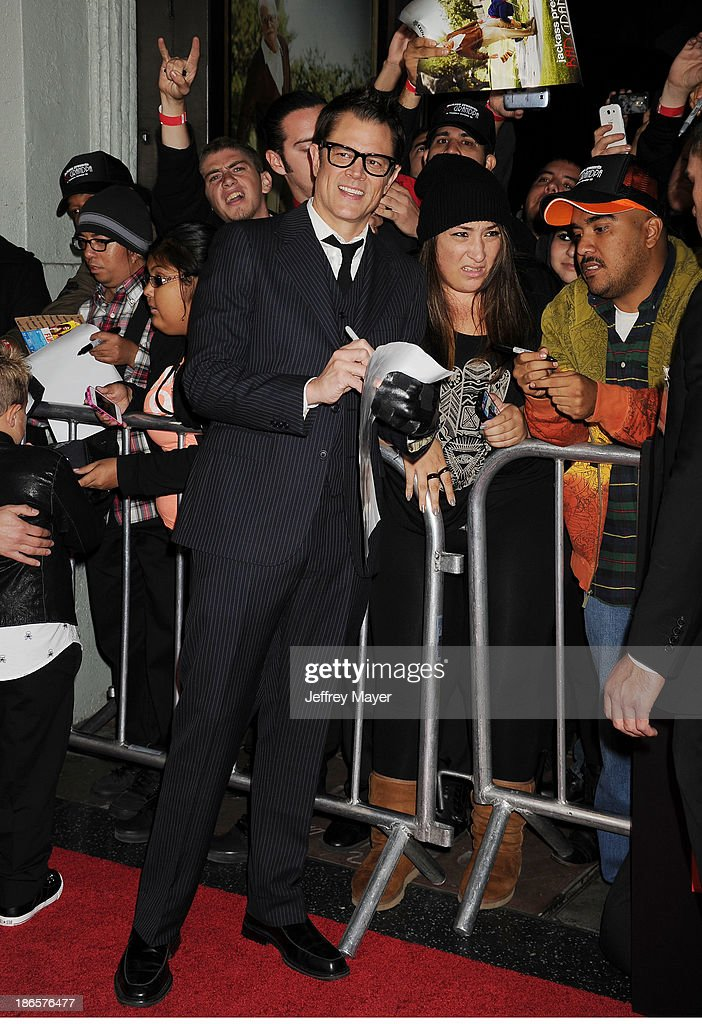 Actor <a gi-track='captionPersonalityLinkClicked' href=/galleries/search?phrase=Johnny+Knoxville&family=editorial&specificpeople=206210 ng-click='$event.stopPropagation()'>Johnny Knoxville</a> arrives at the Los Angeles premiere of 'Jackass Presents: Bad Grandpa' at TCL Chinese Theatre on October 23, 2013 in Hollywood, California.