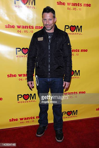 Actor Johnny Messner arrives at the 'She Wants Me' Los Angeles premiere at Laemmle's Music Hall 3 on April 5 2012 in Beverly Hills California