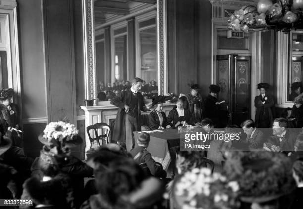Actor Johnston ForbesRobertson at a Suffragette meeting at the Cannon Street Hotel