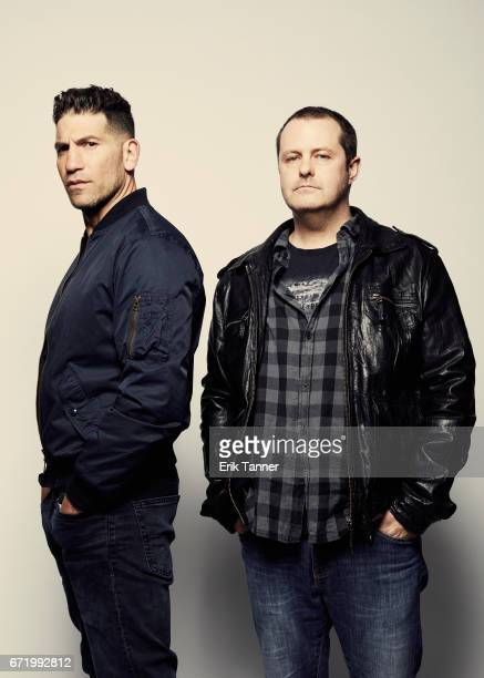 Actor Jon Bernthal and director Brendan Muldowney from 'Pilgrimage' pose at the 2017 Tribeca Film Festival portrait studio on April 23 2017 in New...