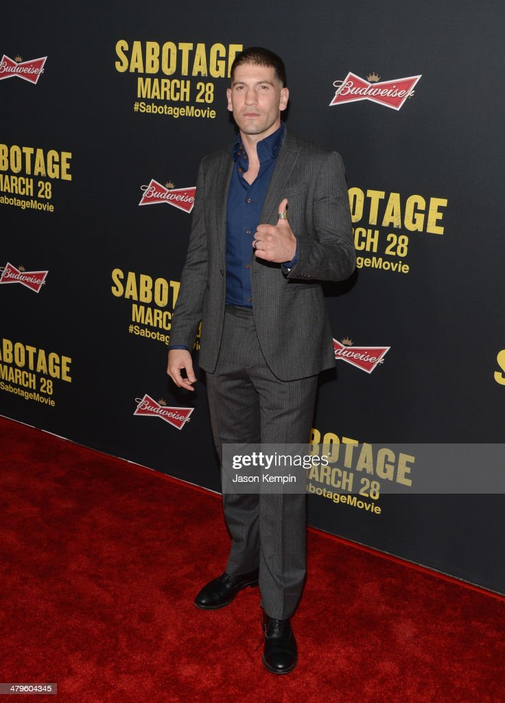 Actor <a gi-track='captionPersonalityLinkClicked' href=/galleries/search?phrase=Jon+Bernthal&family=editorial&specificpeople=633077 ng-click='$event.stopPropagation()'>Jon Bernthal</a> attends the premiere of Open Road Films' 'Sabotage' at Regal Cinemas L.A. Live on March 19, 2014 in Los Angeles, California.