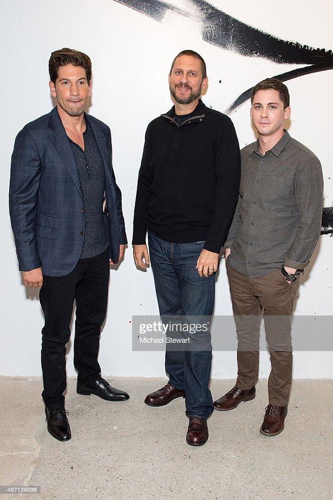 Actor Jon Bernthal director David Ayer and actor Logan Lerman attend AOL's BUILD Series Presents Logan Lerman and Jon Bernthal with director David...