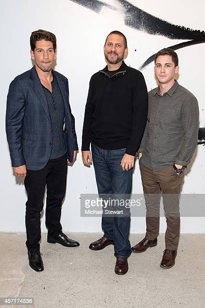 Actor Jon Bernthal director David Ayer and actor Logan Lerman attend AOL's BUILD Series Presents Logan Lerman and Jon Bernthal with director David...