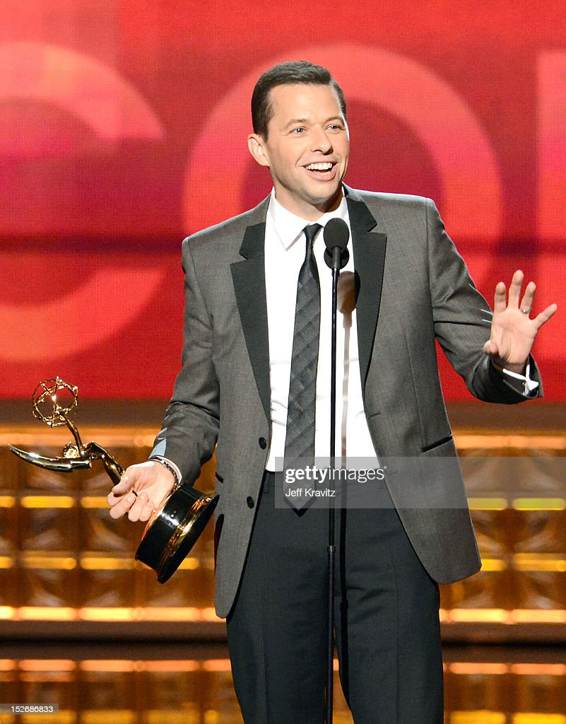 Actor Jon Cryer accepts his award onstage during the 64th Primetime Emmy Awards at Nokia Theatre L.A. Live on September 23, 2012 in Los Angeles, California.