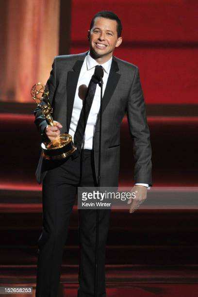 Actor Jon Cryer accepts Outstanding Lead Actor in a Comedy Series award for 'Two and a Half Men' onstage during the 64th Annual Primetime Emmy Awards...
