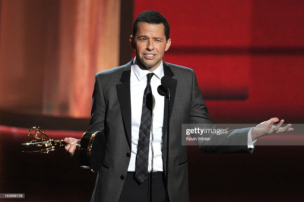 Actor <a gi-track='captionPersonalityLinkClicked' href=/galleries/search?phrase=Jon+Cryer&family=editorial&specificpeople=213483 ng-click='$event.stopPropagation()'>Jon Cryer</a> accepts Outstanding Lead Actor in a Comedy Series award for 'Two and a Half Men' onstage during the 64th Annual Primetime Emmy Awards at Nokia Theatre L.A. Live on September 23, 2012 in Los Angeles, California.