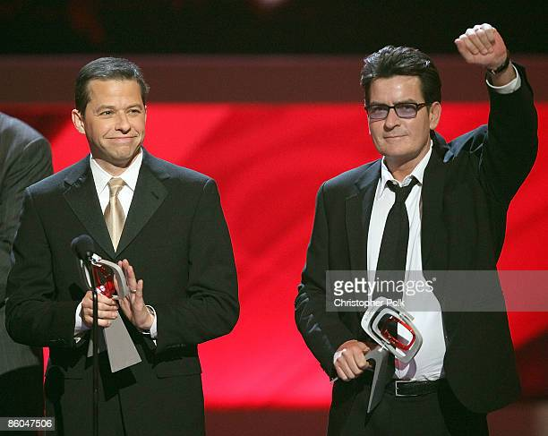 Actor Jon Cryer and Charlie Sheen of 'Two and a Half Men' onstage during the 7th Annual TV Land Awards held at Gibson Amphitheatre on April 19 2009...
