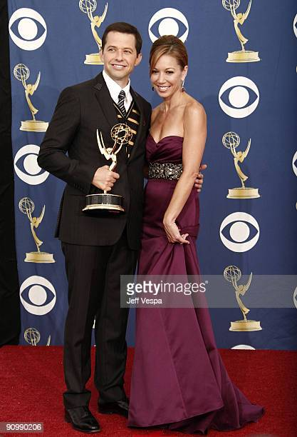 Actor Jon Cryer and wife Lisa Joyner pose in the press room at the 61st Primetime Emmy Awards held at the Nokia Theatre on September 20 2009 in Los...
