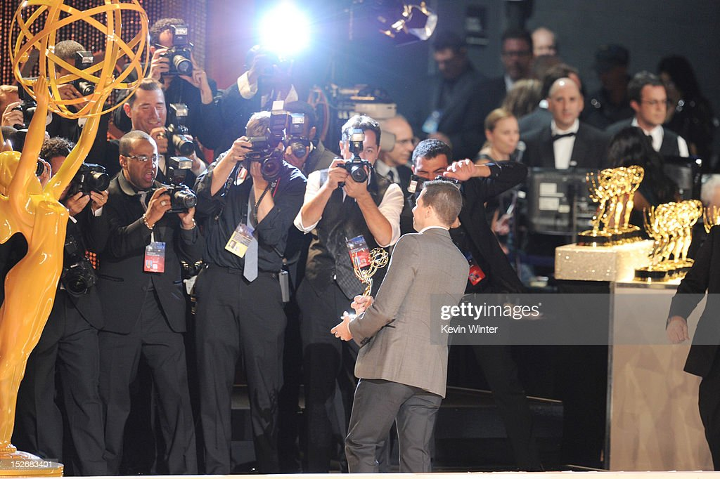 Actor <a gi-track='captionPersonalityLinkClicked' href=/galleries/search?phrase=Jon+Cryer&family=editorial&specificpeople=213483 ng-click='$event.stopPropagation()'>Jon Cryer</a> poses for photographers after winning Outstanding Lead Actor in a Comedy Series for 'Two and a Half Men' during the 64th Annual Primetime Emmy Awards at Nokia Theatre L.A. Live on September 23, 2012 in Los Angeles, California.