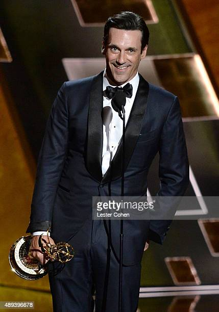 Actor Jon Hamm accepts an award onstage during the 67th Annual Primetime Emmy Awards at Microsoft Theater on September 20 2015 in Los Angeles...