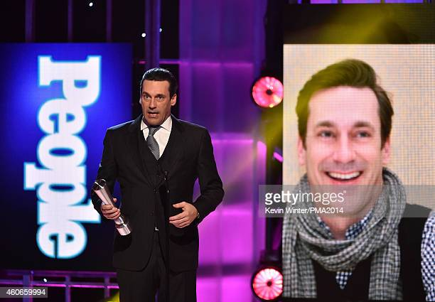 Actor Jon Hamm accepts Television Performance of the Year Actor onstage during the PEOPLE Magazine Awards at The Beverly Hilton Hotel on December 18...